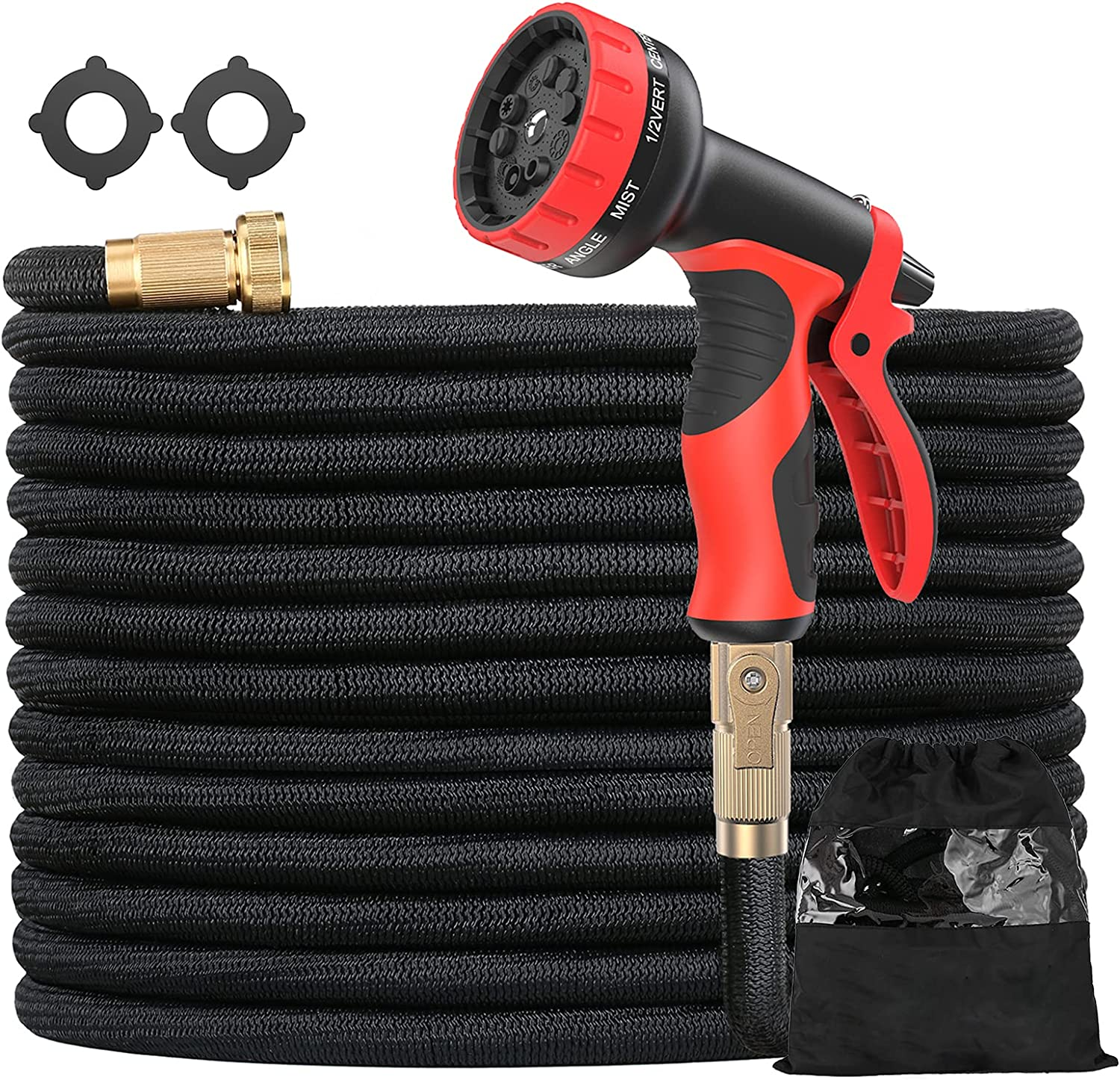 Expandable Garden Hose 50ft Water Hose with 10 Function Nozzle No-Kink Lightweight Flexible Hose Durable 3-Layers Latex with 3/4 Inch Solid Brass Fittings for Watering & Washing