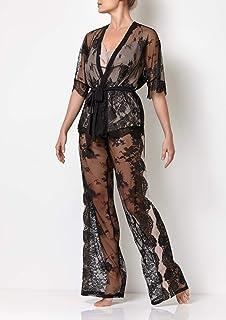 Millesime Conjunto de Pijama de Encaje de 3 piezas | Lujo Mujer Pantalones Mujer Tops Mujer Tank Top Camisetas Sin Mangas ...