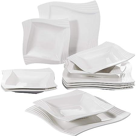 MALACASA, Série Amparo, 24pcs Assiettes Plates Porcelaine, 12 Assiette à Soupe Creuse, 12 Assiettes Plates Vaisselles Plats 12 Personnes