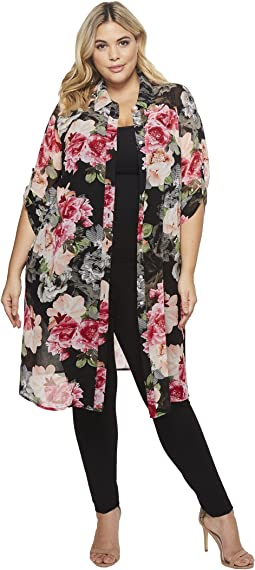 Plus Size Roll Sleeve Long Printed Tunic