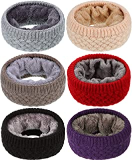 Sintege 6 Pieces Kids Neck Warmer Knitted Winter Infinity Scarf Polar Fleece Double-Layer Neck Gaiter Soft Lined Circle Scarf for Boys Girls