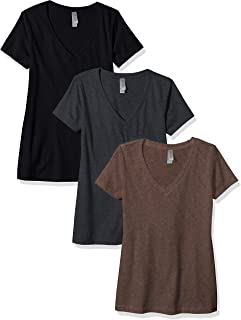 Women's Petite Plus Deep V Neck Tee (Pack of 3)