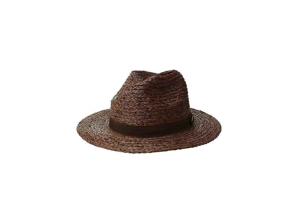 San Diego Hat Company Raffia Braid w/ Grosgrain Fedora (Brown) Caps
