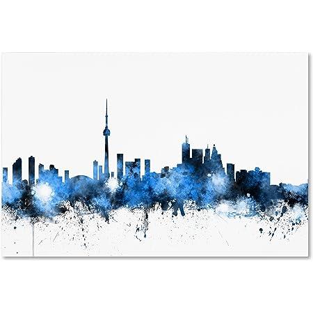 Toronto Canada Skyline By Michael Tompsett 12x19 Inch Canvas Wall Art Posters Prints