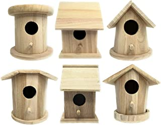 3 Wooden Birdhouse for Crafts Set 1 Unfinished Natural Wood 5-Inches for Finches and Songbirds Heavy Duty for Inside or Outside