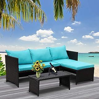 Valita 3-Piece Outdoor PE Rattan Furniture Set Patio...