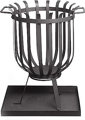 Gartenfreude Home Feuerkorb Feuerschale Feuerstelle mit Feuerhaken und Untersetzer 36 x 36 x 46 cm, Schwarz