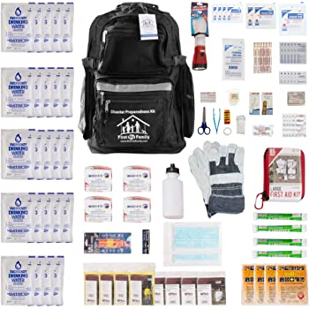First My Family All-in-One 4-Person Premium Disaster Preparedness Survival Kit/Earthquake Kit with 72 Hours of Survival and First-Aid Supplies 4PKIT, FMF4PR