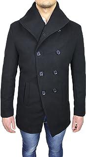 Cappotto Uomo Sartoriale Nero Parka Invernale Giaccone Soprabito Casual Elegante