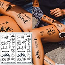 Supperb Temporary Tattoos - Mountain Outline Wildness Adventure Stay Wild Enjoy Life Quotes Wording Words Temporary Tattoos (Set of 2)