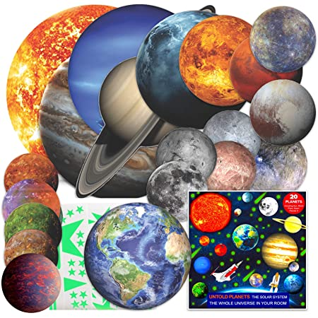 Solar System for Kids Glow in The Dark Planets and Stars for Ceiling, Wall Planet Stickers, Space Decor All Glowing Planets Dwarf Exoplanets Pluto Moon Sun