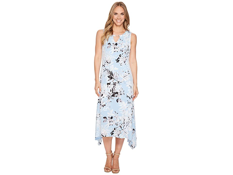 Calvin Klein Crew Neck Printed Maxi Dress (Iceberg Multi) Women