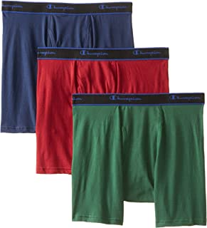 Champion Men's 3 Pack Performance Cotton Regular Leg Boxer Briefs, Assorted