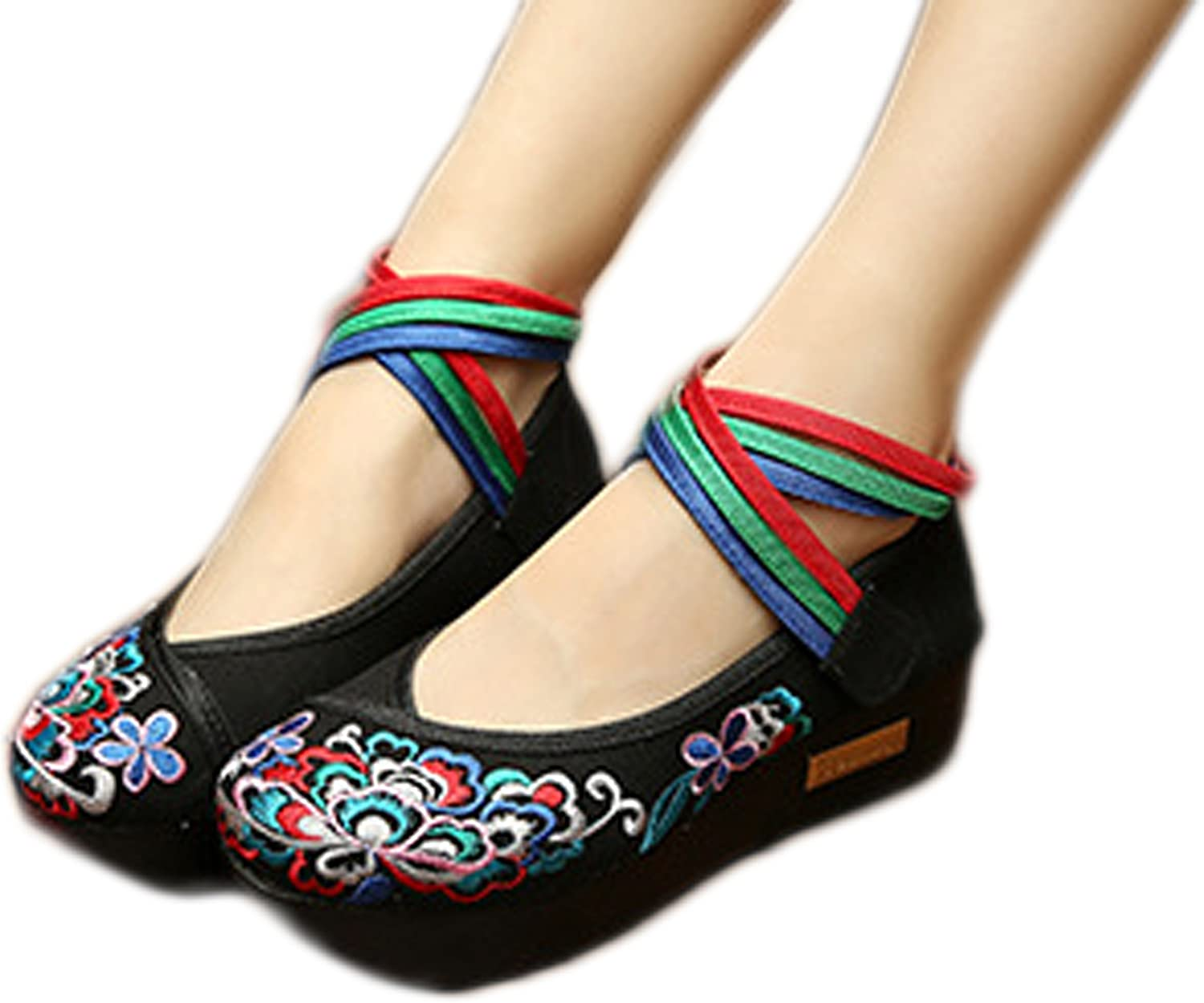 AvaCostume Womens Peony Embroidery color Ankle Velcro Casual shoes