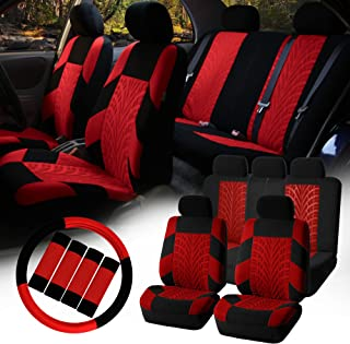 FH-FB071115 Complete Set Travel Master Seat Covers Airbag Ready & Rear Split, Red/Black- Fit Most Car, Truck, SUV, or Van
