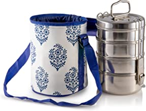 4 Tier Large Tiffin with Thermally Insulated Blue Patterned Tiffin Bag Carrier