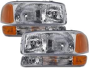 HEADLIGHTSDEPOT Chrome Housing Halogen Headlights Compatible with GMC Sierra 1500 HD 2500 3500 Yukon XL Includes Left Driver and Right Passenger Side Headlamps 4-Piece Set w/Park Signal Lights