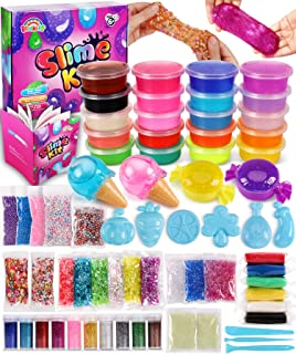 DIY Slime Kit for Girls Boys, Slime Making Kit for Kids Slime Supplies in One Box, Ultimate Glow in The Dark Slime Kit with Already Made Slime for Girls, Christmas Birthday Gifts/Toys for Girls Boys