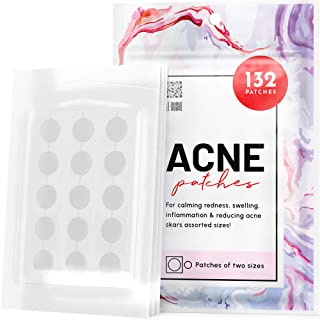Best Acne Patches 132 Dots 3 Sizes 8 mm, 10 mm, 12 mm - Hydrocolloid Pimple Patches Blemish Protective Cover Absorbing Spot Treatment Hydrocolloid Dressing Zit Sticker Healing Dot Review