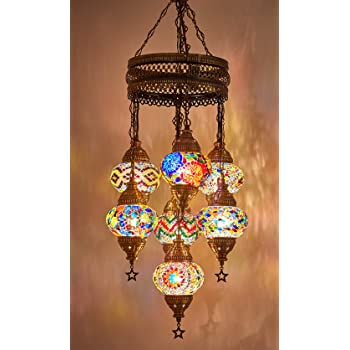 (Customizable Globes) DEMMEX 2019 Hard-Wired or PLUGIN 1,3,5,7,9 Globes Chandelier Lights Turkish Moroccan Mosaic Ceiling Hanging Pendant Chandelier Light Lighting (7 Globes Hardwired)