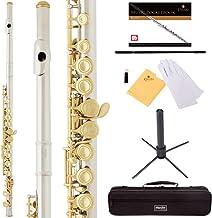 Mendini by Cecilio Premium Grade Cold Flute Cold with Stand، Book، Case Deluxe and Garment (نیکل اندود + کلیدهای طلایی)
