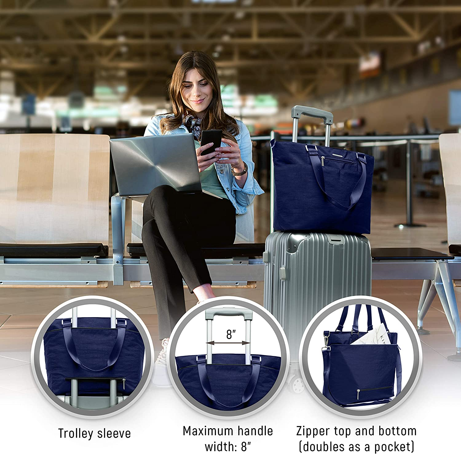 Laptop Sleeve Luggage Strap Nylon Crossbody Bag for Women with Shoulder Strap
