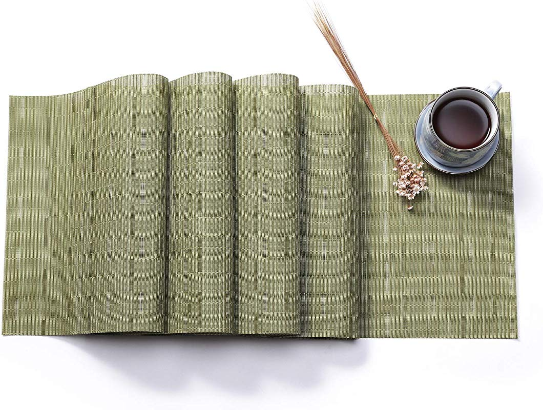 Hysenm Solid Color Bamboo Pattern Heat Proof Stain Resistant Decorative Vinyl Table Runner Mat Green 1xTable Runner