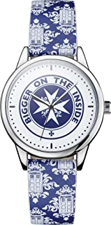 Doctor Who Wrist Watch - Collectors Bigger On The Inside Analog Clock With Blue Tardis Wrist Band