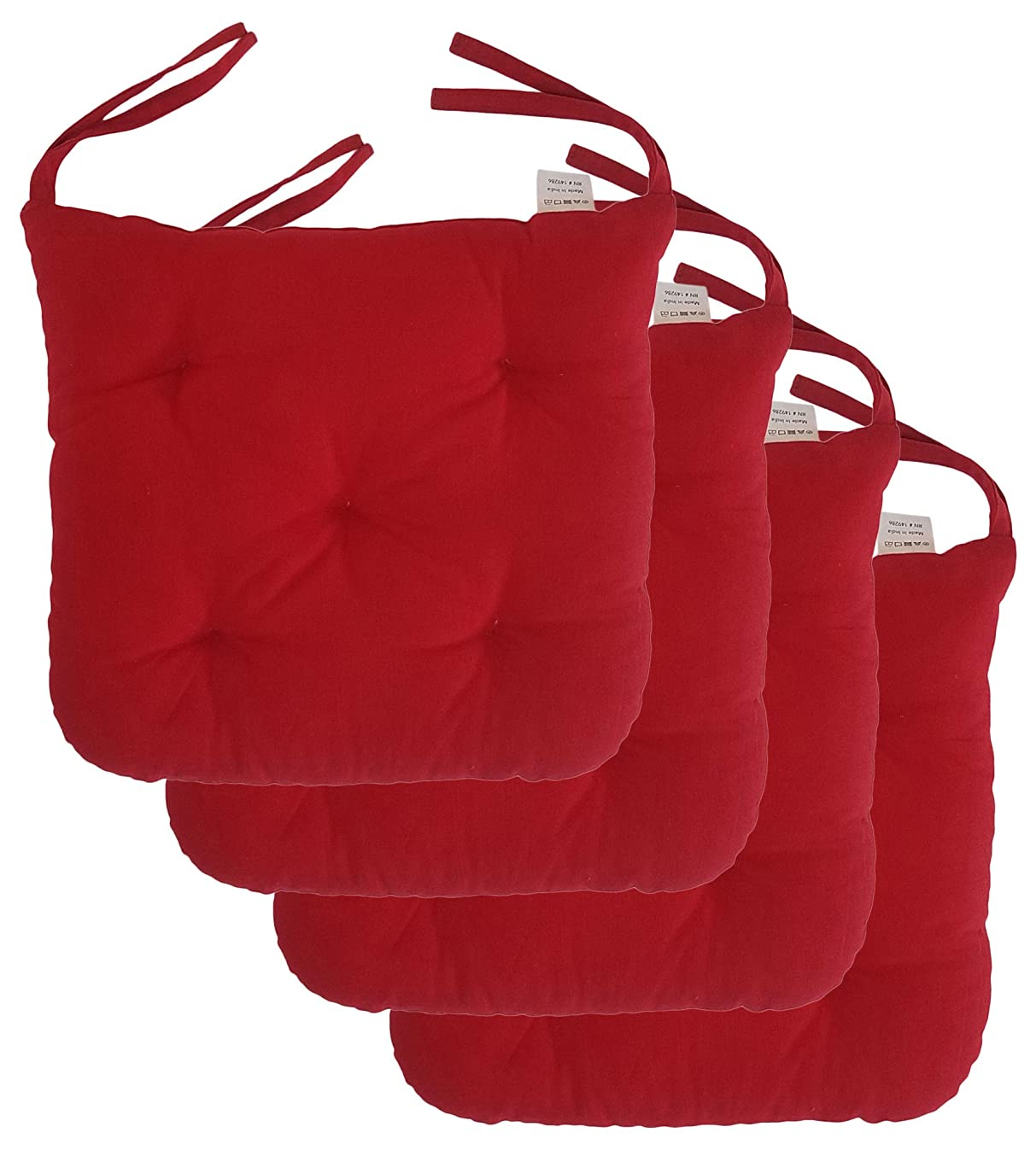 "Cottone 100% Cotton Chair Pads w/Ties (Set of 4)| 16"" x 15"" Square Round 