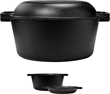 Pre-Seasoned Cast Iron Skillet and Double Dutch Oven Set – 2 In 1 Cooker: 5 Quart Deep Pan, 10-Inch Frying Pan Converts to Li