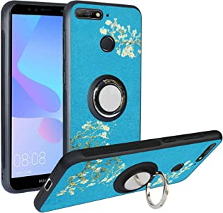 Alapmk Case for Huawei Y6 2018 / Y6 Prime/Honor 7A.[Pattern Design] with Kickstand Fit Magnetic Car Mount, Shockproof TPU Protective Case Cover, Flower