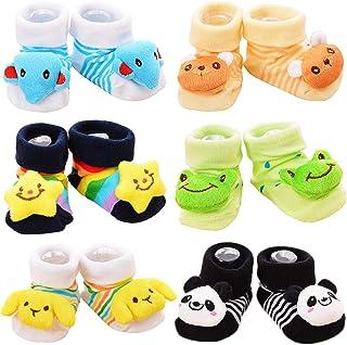 Calcetines Antideslizantes con Muñecos para Bebé Niños Paquete de 6 Multicolor 4-12 Meses