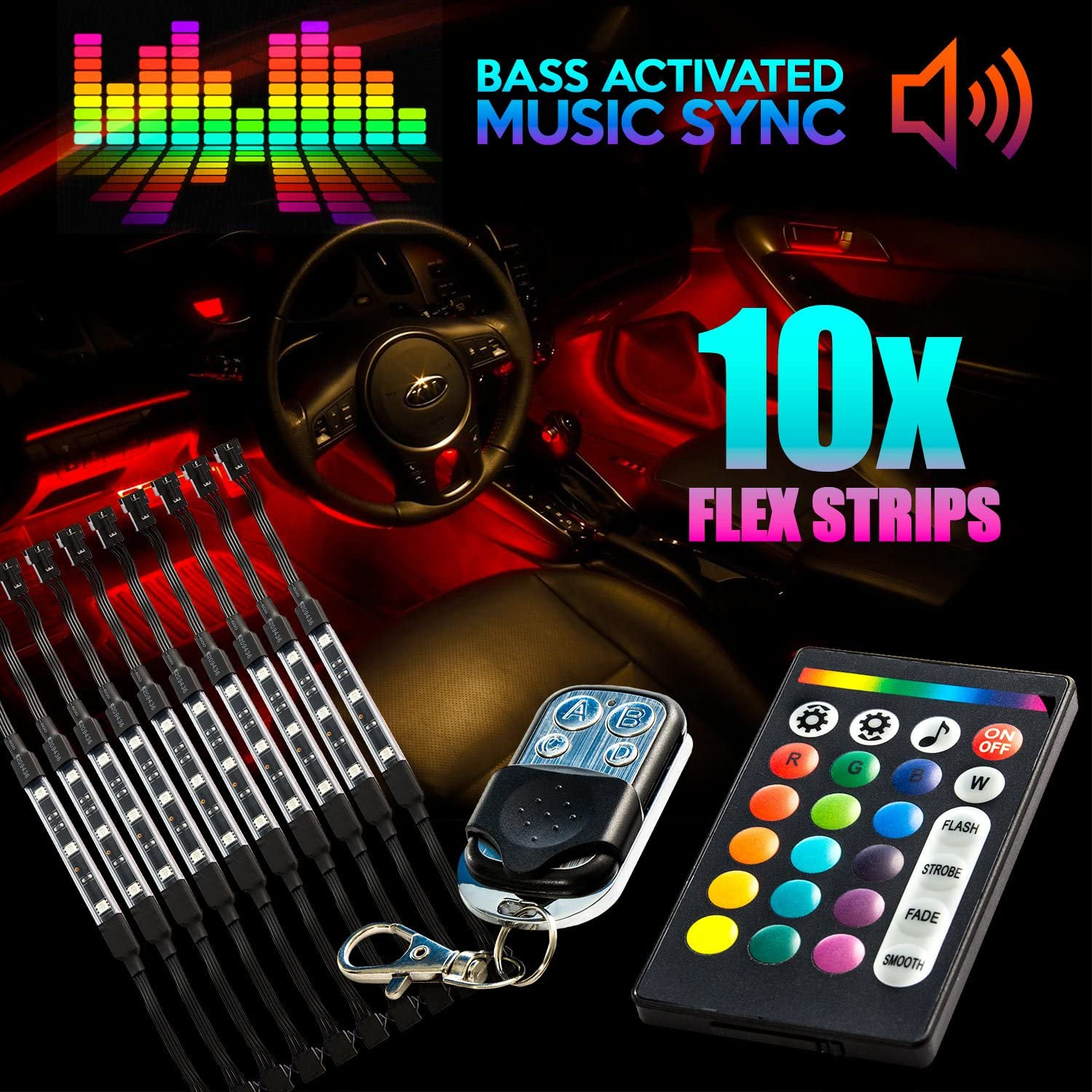 Krator 18 Ranking TOP15 Color 10pcs RGB Motorcycle LED Strip Flexible Ligh ATV Popular brand in the world