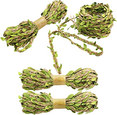 Naidiler 196 Ft Jute Burlap Artificial Vines Twine with Rustic Leaves Ribbon Jungle Garland for Safari Baby Shower Party VBS Wedding Home Decoration and DIY Headband Wreath Wraping Craft