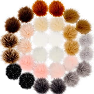 30 Pieces Faux Fur Pom Pom Balls DIY Faux Fox Fur Fluffy Pom Pom with Elastic Loop for Hats Keychains Scarves Gloves Bags Accessories (Color Set 1)