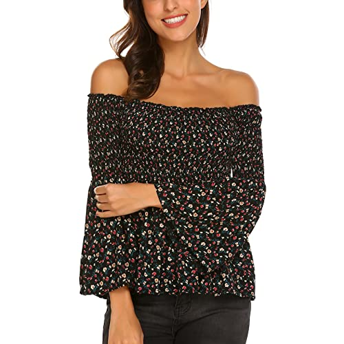 b421465dbc95 Pasttry Women s Off The Shoulder Floral Printed Tops Ruffle Bell Sleeve  Flowy Blouses