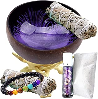 Worldly Finds Smudge Bowl Smudging Kit, Natural Coconut Shell Scrying Bowl, White Sage Stick Bundle, 2 Palo Santo, White Sand, Eco-Friendly, Hand-Painted, Gift Set (Purple, Chakra Set)
