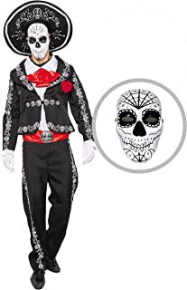 Mens Day of The Dead Mariachi Senor Adult Costume Set Halloween Dress Up Party, Dia de Los Muertos