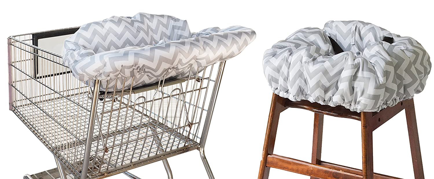 Itzy Ritzy Shopping Cart and High Chair Cover Featuring Padding, Toy Loops, Pockets and Safety Belts - for Use in Shopping Carts and High Chairs, Gray Chevron