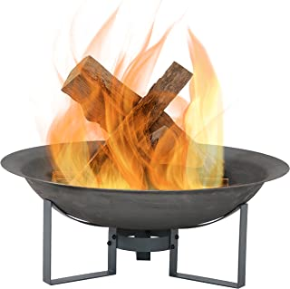 Sunnydaze Modern Fire Pit Bowl with Stand - Portable Outdoor Wood-Burning Patio Fireplace - Cast Iron Firebowl - 23-Inch