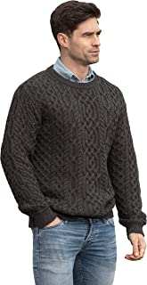 Aran Crafts Men's Cable Knitted Crew Neck Sweater (100% Super Soft Merino Wool)
