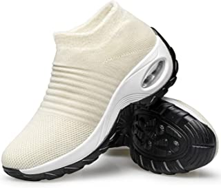 YHOON Women's Walking Shoes - Sock Sneakers Slip on Mesh Platform Air Cushion Athletic Shoes Work Nurse Comfortable Fur Lined White 6.5