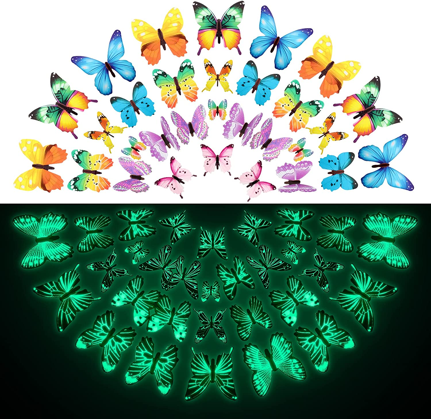 96 Pieces Butterfly Wall Decals Glow in The Dark Butterflies Decor for Ceiling Adhesive Removable 3D Luminous Mural Stickers for Kid Bedroom Nursery Living Room Home Garden Decoration, Multi Colors
