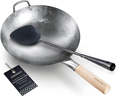 Round Bottom 14-inch Traditional Wok with Pre-seasoned spatula - Authentic hand craft wok and wok turner by Mammafong