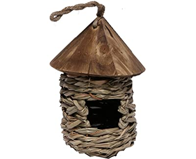 Songbird Essentials SE10345 Small Hanging Grass Twine House with Roof (Set of 1)