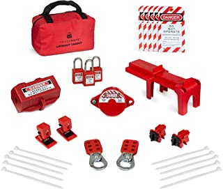 TRADESAFE Professional Lockout Tagout Kit for Gate Valves, Ball Valves, Electric Plugs, Electrical Circuit Breakers. w/ 3 Red Padlocks, 2 Hasps, 5 Safety Lock Out Tags