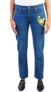 Gucci Women's Cotton Embroidered Tiger Applique Denim Jeans Pants Blue