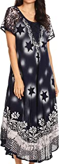 Marga Women Maxi Summer Caftan Swimsuit Beach Cover Up Dress with Lace