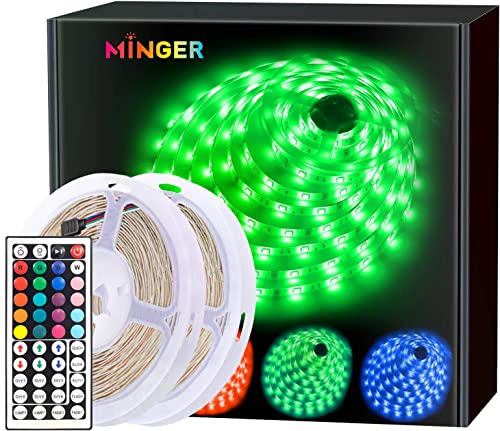 MINGER LED Strip Lights Kit 32.8ft, RGB Color Changing LED Lights for Room, Bedroom, Home, Kitchen Cabinet, Party Dec...