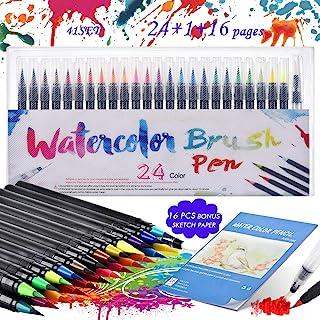 Rotuladores PincelAcuarelables, KEEHOM Set Rotuladores Lettering 24 Colores de Nylon Flexible y 1Pluma de Pincel de Agu...